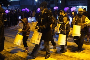 Bucket-drummers accompany Watermelon Smash.